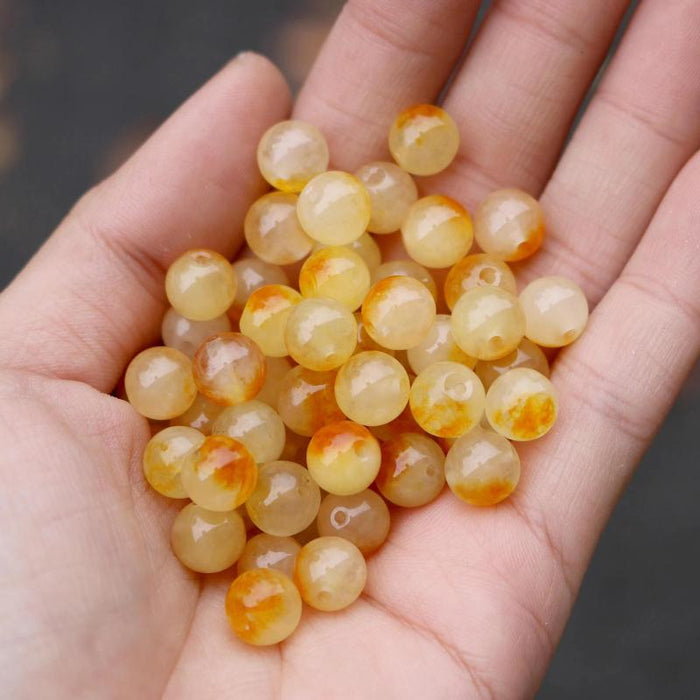 yellow brown jade, 8mm, round, glossy, 1 strand, 16 inches, approx. 48 beads.-Gemstone Beads-BeadsVenture
