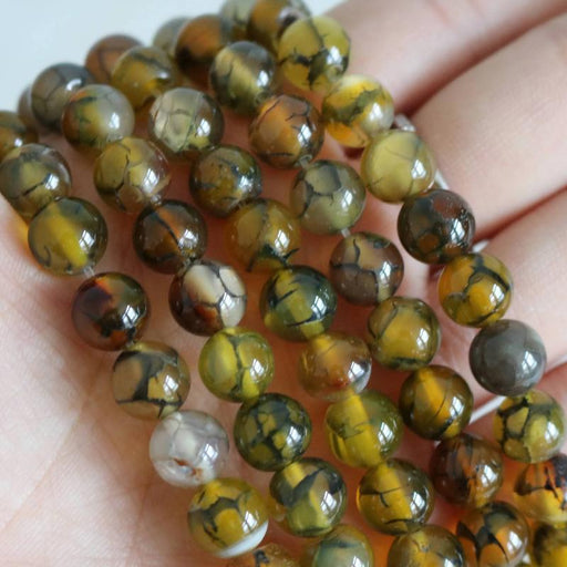 yellow green dragon vein agate, 8mm, round, glossy, 1 strand, 16 inches, approx. 48 beads.-Gemstone Beads-BeadsVenture