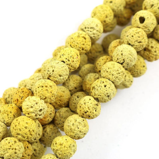 yellow lava, 6mm, round, rough, 1 strand, 16 inches, approx. 66 beads.-Gemstone Beads-BeadsVenture