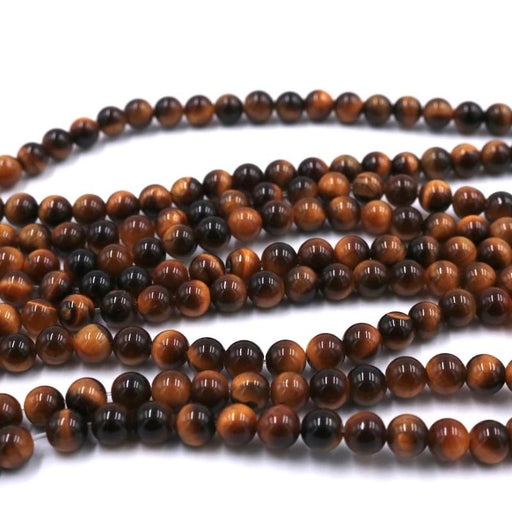 Yellow tiger eye, 6mm, round, glossy, 1 strand, 16 inches, approx. 66 beads.-Gemstone Beads-BeadsVenture