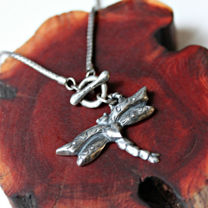 kerin rose dragonfly necklace pendant silver handmade artist