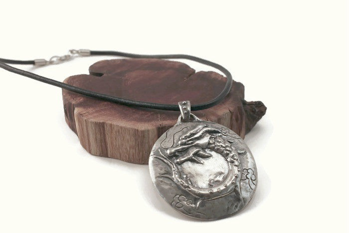 Chinese  water dragon protection  silver handmade pendant necklace leather
