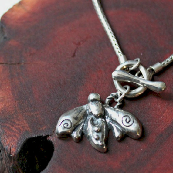 silver honeybee necklace
