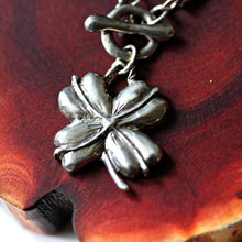 Load image into Gallery viewer, Lucky necklace 4 leaf clover silver on leather