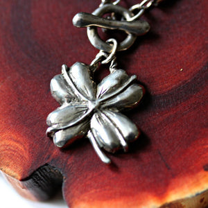 Lucky necklace 4 leaf clover silver on leather