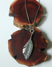 Load image into Gallery viewer, feather necklace toggle front eco friendly sterling silver