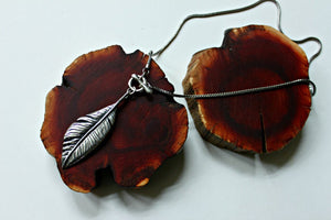 feather necklace toggle front eco friendly sterling silver