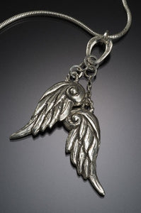 double wings silver  necklace