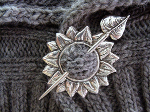 sterling silver sunflower shawl pin