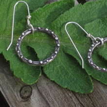 Load image into Gallery viewer, small circle dangle earrings handmade ecofriendly silver by kerin rose