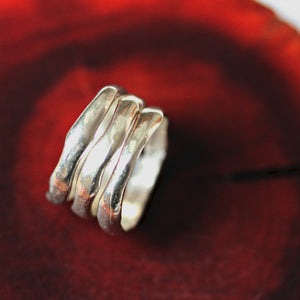 River Spirit  silver stacking rings