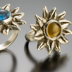 sunflower ring with semi precious stones