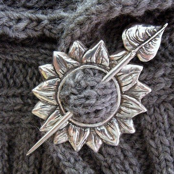 sunflower shawl pin