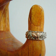 Load image into Gallery viewer, te amo ring silver with rose gold flying heart symbol