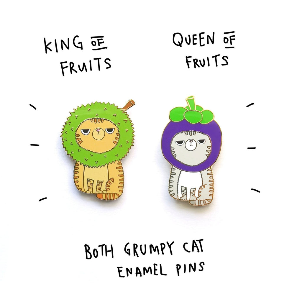 Durian / Mangosteen Grumpy Cat Pin