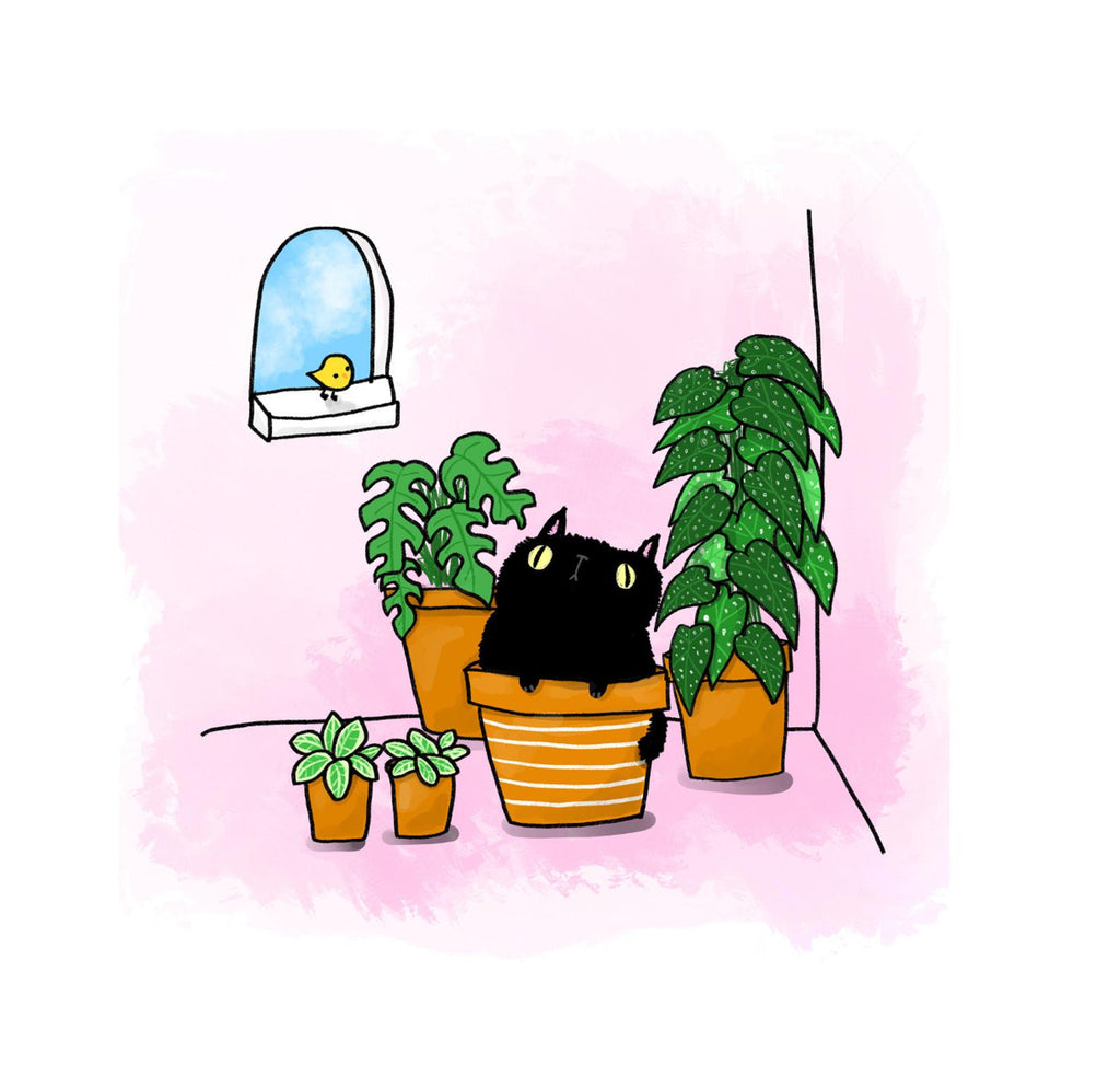 Cat and plants Print