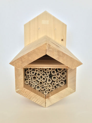 Hexagon native bee house with natural lake reeds - PICK UP ONLY