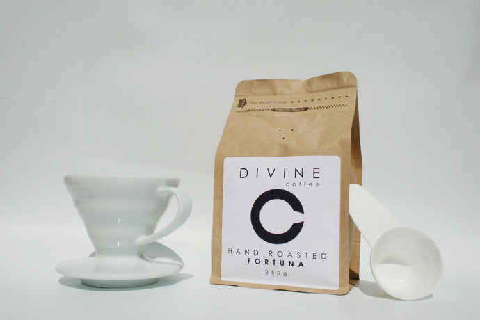 Divine Coffee 250g, Ceramic V60 & 100x Filter Papers Bundle