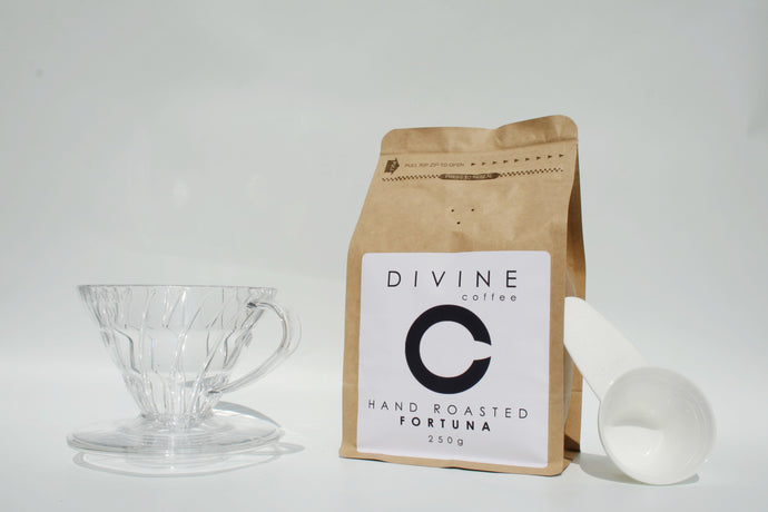 Divine Coffee 250g, Plastic V60 & 100x Filter Papers Bundle
