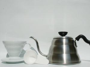 Hario V60 Drip Kettle, 01 Ceramic V60 and 100x Filter Papers Bundle