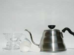 Hario V60 Drip Kettle, 01 Plastic V60 and 100x Filter Papers Bundle