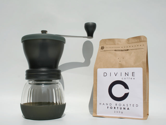Divine Coffee 250g and Hario Skerton Hand Grinder Bundle