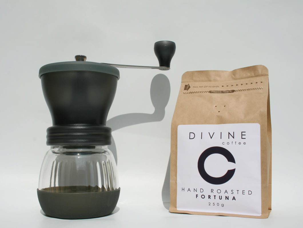250g Coffee Bag and Hario Skerton Hand Grinder Bundle