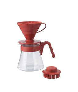 Hario V60 Coffee Dripper 02 and Pot Set Red
