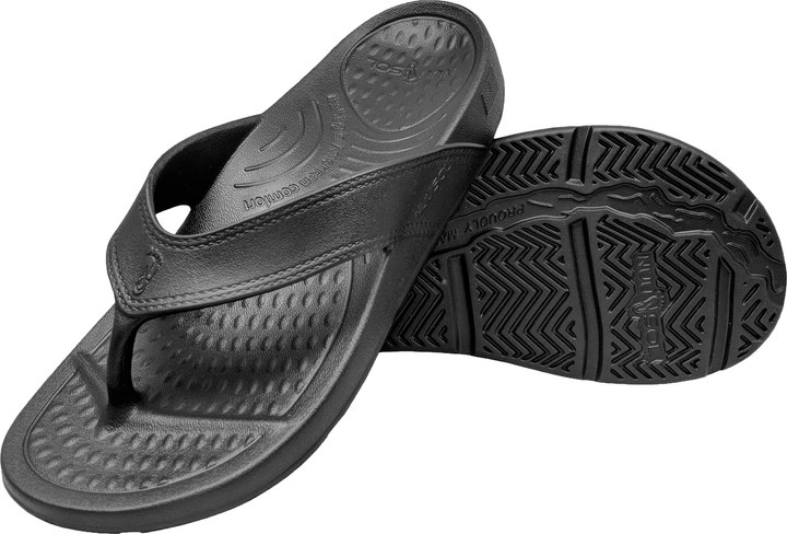 NuuSol Cascade Flip Flop Eclipse Black Pair Made In USA Flip Flops
