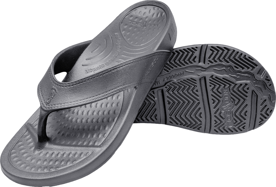 NuuSol Cascade Flip Flop Granite Gray Pair Made In USA Flip Flops
