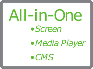 All in one logo and text for digital signage screen media player and cms system