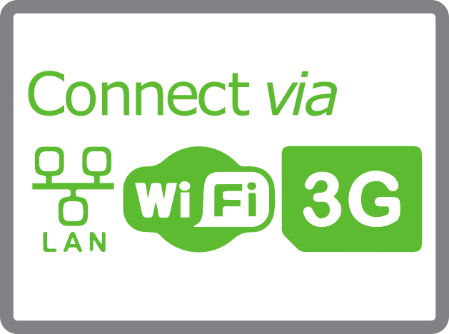 Connectivity via LAN, wifi & 3G logo and text for digital signage