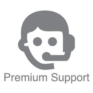 Premium Support logo and text for digital signage store