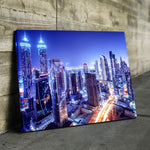 Dubai City in Neon Lights Canvas Art