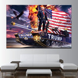 Donald Trump Standing On Top Of A Tank Canvas Art - Mystikz Gaming