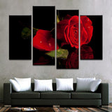 Rose With Water Droplets Canvas Art - Mystikz Gaming