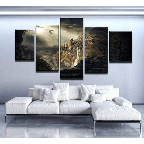 Elder Scrolls Scenery And Dragon Canvas Art