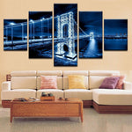 George Washington Bridge Night Scene Canvas Art