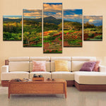 Beautiful Scenery Of A Mountain And A Villa Canvas Art - Mystikz Gaming