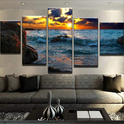 Dark Sunset Over The Ocean Canvas Art