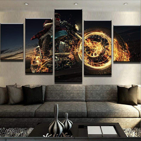 Motorbike On Fire Canvas Art