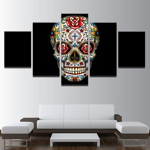 Psychedelic Roses Flowers Skull Cross - Mystikz Gaming