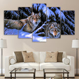 Snow Mountain Wolves Forest Animal