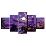 Decor Coastal Village House Lighthouse Moonlit Night - Mystikz Gaming