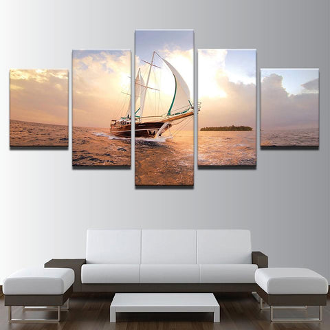 Unset Sailboat Seascape Boat Sailing