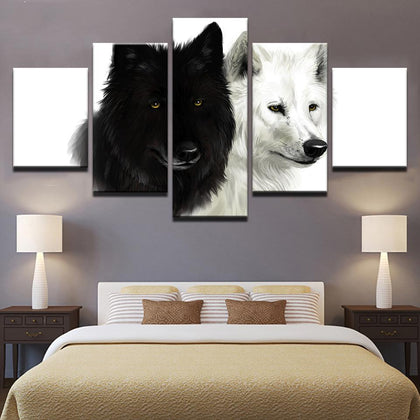 Wolf Couple Black And White Animal