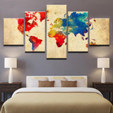 Decor Vintage Color World Map Retro Watercolor - Mystikz Gaming