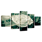 Green Leaves White Rose Flower - Mystikz Gaming