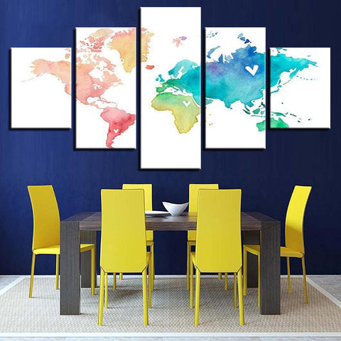 Color Watercolor World Map Abstract - Mystikz Gaming