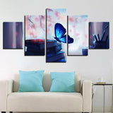 Posters Beautiful Blue Glowing Butterfly And Book Pen - Mystikz Gaming